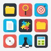 Office themed squared app icon set — Stock Vector