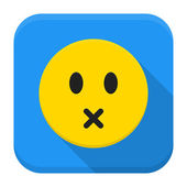 Silent yellow smile app icon with long shadow — Stock Vector