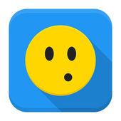 Surprised yellow smile app icon with long shadow — Stock Vector