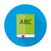 English ABC book flat circle icon — Stock Vector