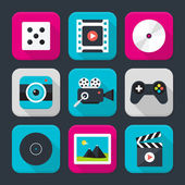 Multimedia, audio and video themed squared app icon set — Stock Vector