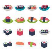Sushi icon set over white — Stock Vector
