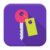Key app icon with long shadow — Vector de stock