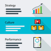 Strategy culture performance business template — Stock Vector