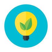 Eco idea flat circle icon — Stock Vector