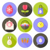 Easter flat styled circle icon set 2 with long shadow — Stockvector