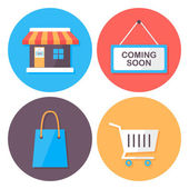Shopping and retail flat style icons set — Stock Vector