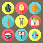 Easter flat styled circle icon set 6 with long shadow — Vecteur