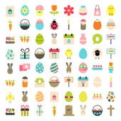Easter big flat styled icons set over white — Stock Vector