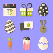 Easter icons set with shadows over violet — Stock Vector