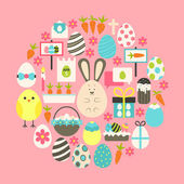 Easter Flat Icons Set over pink — Stock Vector