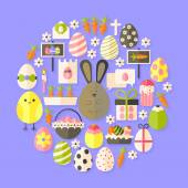 Easter Flat Icons Set circular shaped with shadow — Stock Vector