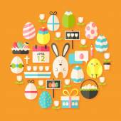 Easter Flat stylized Icons Set circular shaped with shadow — Stock Vector