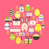 Easter holiday Flat Icons Set over dark pink — Stock Vector