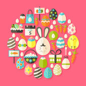 Easter holiday Flat Icons Set circular shaped with shadow — Stock Vector