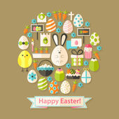 Easter Greeting Card with Flat Icons Set circular shaped — Stock Vector
