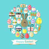 Easter Holiday Greeting Card with Flat Icons Set circular shaped — Stock Vector