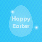 Easter Greeting Card with Egg and blured blue background — Stock Vector