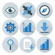 Blue and Grey Business Flat Circle Icons — Stock Vector #69212627