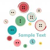 Group of Sewing Buttons with Sample Text — Stock Vector