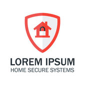 Home Security with Red Shield and Padlock — ストックベクタ