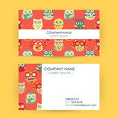 Business Card with Owls — Stock Vector