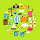 Flat Summer Holiday Icons Circle Shaped Set — Stock Vector