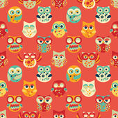 Red Seamless Pattern with Owls — Stock Vector