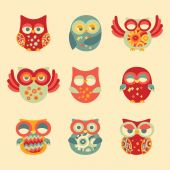 Vintage Decor Owl Set — Stock Vector