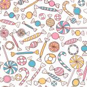 Candies Seamless Pattern Hand Drawn — Stock Vector