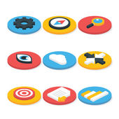 Flat Website Isometric Icons Set Circular Shaped — Stock Vector
