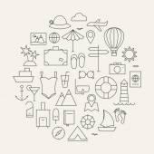 Summer Holiday Line Travel Icons Set Circular Shaped — Stock Vector