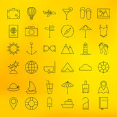 Summer Holiday Line Travel Icons Set — Stock Vector