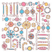 Doodle Candies Sweets Hand Drawn Objects Set — Stock Vector