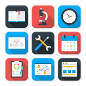 Flat Business and Office Life App Icons Set — Stock Vector
