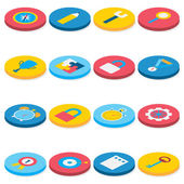 Flat Isometric Circle Business and Office Icons Set — Stock Vector