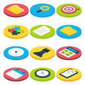 Flat Isometric Circle Business Icons Set — Stock Vector