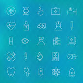 Medical and Health care Line Icons Set over Polygonal Blurred Ba — Stock Vector
