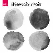 Grey Watercolor Circles Set — Fotografia Stock