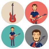Guitar Musician Flat Circle Icons Set — Stock Vector
