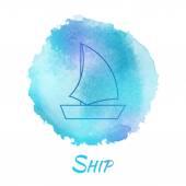 Sea Ship Marine Vector Watercolor Concept — Stock Vector