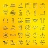 Fitness e dieta linha conjunto de ícones grandes — Vetor de Stock