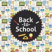 Flat Vector Back to School Background — Stock Vector
