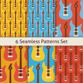 Six Vector Flat Seamless Rock Music Instrument Guitar Patterns S — Vector de stock