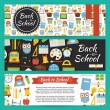 Back to School and Education Vector Template Banners Set in Mode — Stock Vector #77860560