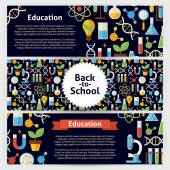 School Science and Education Vector Template Banners Set in Mode — Stock Vector