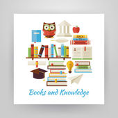 Flat Style Circle Vector Set of Books Education and Knowledge Ob — Stock Vector