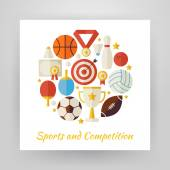 Flat Style Circle Vector Set of Sport Recreation and Competition — Stock Vector