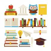 Flat Style Vector Collection of Books Education and Knowledge Ob — Stock Vector