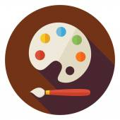 Flat Colorful Palette with Paintbrush Circle Icon with Long Shad — Stock Vector
